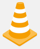 Orange and white striped traffic cone Royalty Free Stock Photography