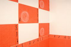 Orange and white tile. Stock Photo