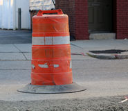 Orange and White Traffic Barrier Royalty Free Stock Photos