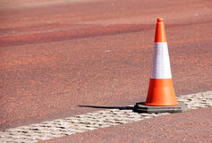 Orange and White Traffic Cone Stock Photo
