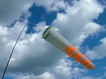 Orange and white windsock Royalty Free Stock Images