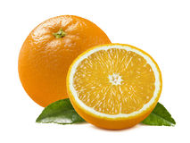 Orange whole half piece leaves isolated on white background. As package design element Stock Photography