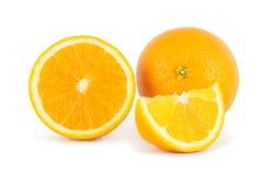 Orange. Whole orange and segments isolated on white background Royalty Free Stock Photography