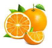 Orange whole and slices of oranges Royalty Free Stock Photography