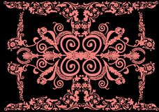 Orange wide floral ornamental strip Royalty Free Stock Photography