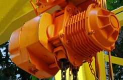 Orange Winch with Iron Chain Royalty Free Stock Photo