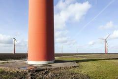 Orange wind turbines on the dutch island of flevoland near Almer Stock Photography