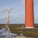 Orange wind turbines on the dutch island of flevoland near Almer Stock Images
