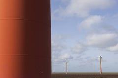 Orange wind turbines on the dutch island of flevoland near Almer Stock Image