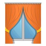 Orange window curtain icon, cartoon style stock illustration