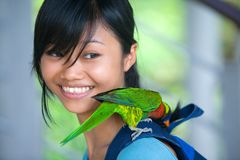 Orange-winged Amazon parrot  perched on girl Stock Photos