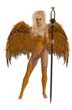 Orange Winged Angel With Blonde Hair Royalty Free Stock Photos