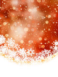 Orange winter background with snowflakes. EPS 8 Stock Images
