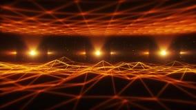 orange Wireframe landskap för 3D i öglasbakgrund för cyberspace VJ vektor illustrationer