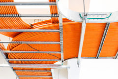 Orange wires on wireway in power station Royalty Free Stock Images
