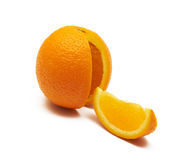 Orange. Wit one slice out Royalty Free Stock Images