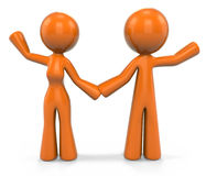 Orange Woman and  Man Waving Royalty Free Stock Images