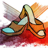 Orange woman shoe Stock Images