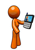 Orange Woman with Smart Phone PDA Royalty Free Stock Photo