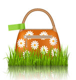 Orange woman spring bag with chamomiles flowers and green sticke Stock Photos