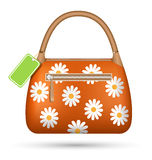 Orange woman spring bag with chamomiles flowers and spring sale Stock Image