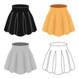 Orange women`s light summer skirt with pleats. Beautiful women`s summer clothing.Woman clothes single icon in cartoon Stock Photos
