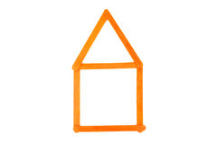 Orange wood construct house Stock Images