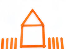Orange wood construct house Stock Image