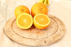 Orange On A Wooden Board Royalty Free Stock Images