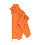 Orange wool lady jacket. On white stock photo