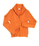 Orange wool lady jacket. On white stock images