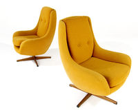 Orange wool Modern arm chair Stock Photos