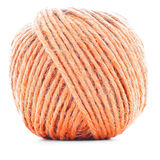 Orange wool skein, sewing yarn ball isolated on white background Stock Images