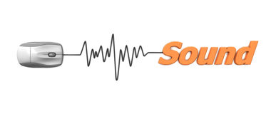 Orange Word Sound with Grey Mouse Stock Photos