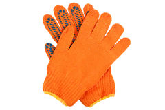 Orange work gloves isolated on white. Royalty Free Stock Photography