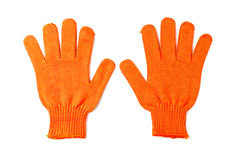 Orange work gloves isolated on Stock Image