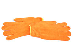 Orange work gloves. Royalty Free Stock Image