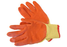 Orange work gloves isolated on white background Royalty Free Stock Photos