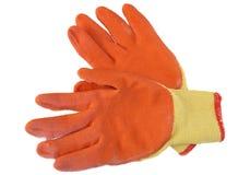 Orange work gloves isolated on white background Royalty Free Stock Photos