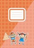 Orange workbook with name tag, vector icon Royalty Free Stock Photos