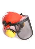 Orange workers helmet and ear protectors cutout Stock Image