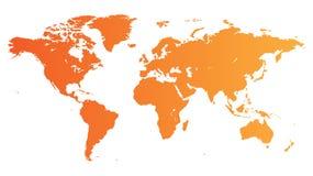 Orange World map. High quality orange map of the World