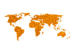Orange world map Royalty Free Stock Photo