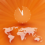 Orange world map with a countdown Royalty Free Stock Image