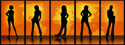 Orange World Models. Vector Image Of Various models in silhouette against the orange world map as seen through a series of 5 portals Stock Photos