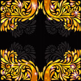 Orange yellow banner pattern black background Royalty Free Stock Image