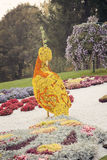 Orange yellow bird flower sculpture – Flower show in Ukraine, 2012. Beautiful large orange and yellow bird sculpture made of flowers at the 57th annual flower Stock Photo