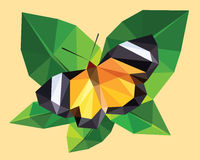 Orange yellow and black butterfly wings with white strip on a green leaf, low polygon crystal design isolated on tree top. Orange and black butterfly wings on a vector illustration