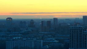 Orange, yellow and blue sunset over Moscow city time lapse video stock video footage