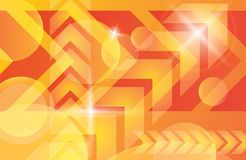 Orange yellow bright technology vector background. Red orange yellow arrows abstract futuristic vector background. Bright light techno banner decoration Royalty Free Stock Photos